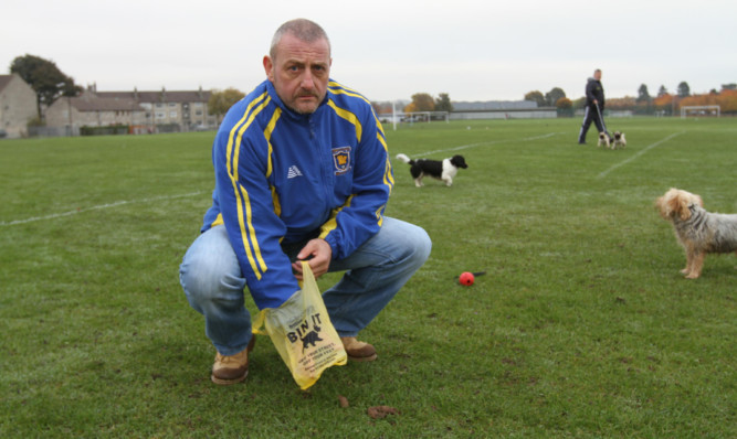 Callum Ogilvie is fed up of dog muck on the pitches at Claypotts Park.