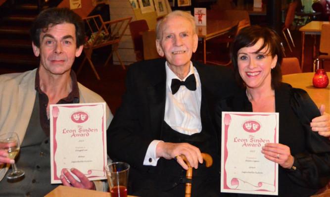 From left: Dougal Lee, Leon Sinden and Helen Logan at the 2015 Leon Sinden Awards presentation.