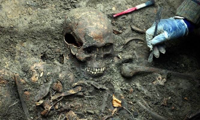 One of the skeletons discovered in a mass grave in Durham that have been identified by experts as the remains of Scottish prisoners of war which laid untouched for almost 400 years.
