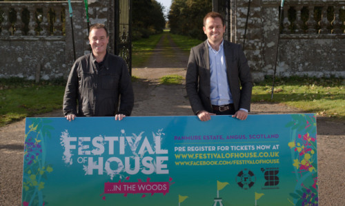 Wayne Dunbar of the Rhumba Club and Festival of House director Craig Blyth at the entrance to Panmure Estate.