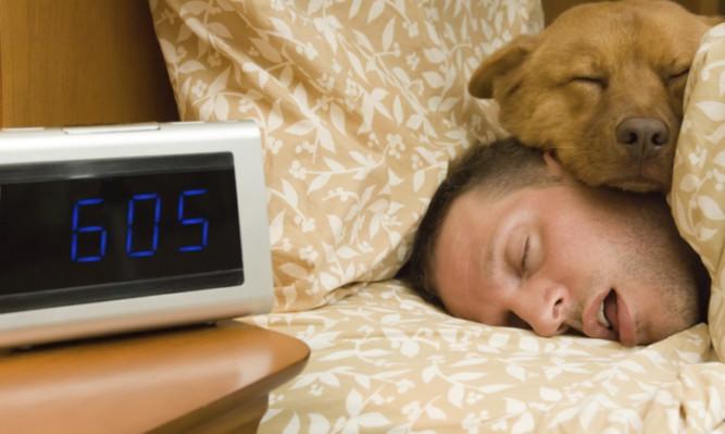 Man and his dog comfortably sleeping