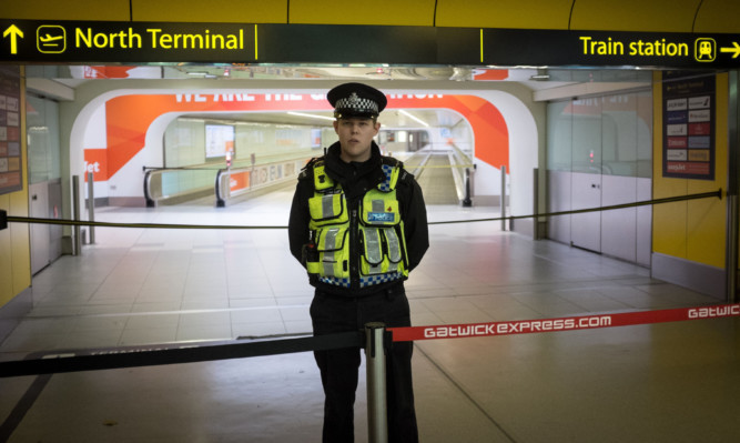 Gatwick Airport's North Terminal was cordoned off on Saturday.