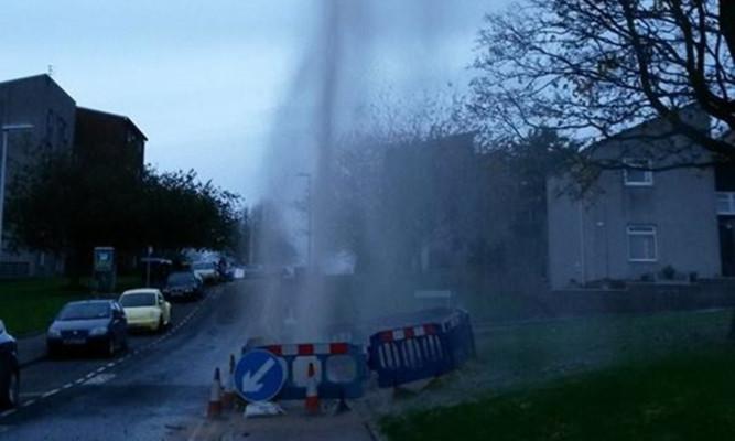 The geyser on Thurso Crescent.
