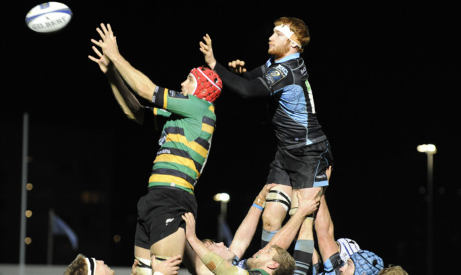 Christian Day steals lineout ball from Rob Harley during Glasgow's ERCC loss to Northampton.