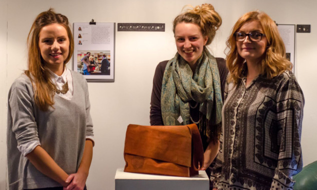 Students Kirsty Sneddon, Leanne Fischler and Rebecca Smith with their talking handbag.