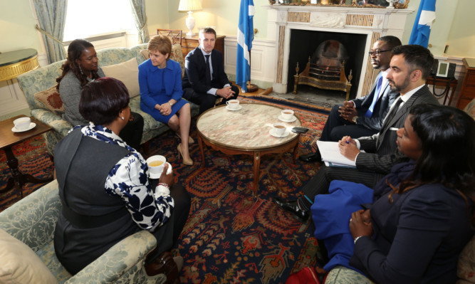 First Minister Nicola Sturgeon and Justice Secretary Michael Mathieson meet members of the family of Sheku Bayoh who died in police custody, and solicitor Aamer Anwar at Bute House.