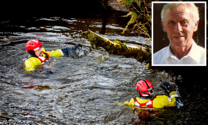 Tayside Fire and Rescue search the river Earn for missing pensioner William Rattray (inset) who was last seen on Tuesday evening.