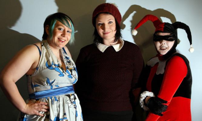 Launching Geekmania at Ahoy Comics, Dundee, are Becky Smith, Jenny Heubeck and Sharrow.