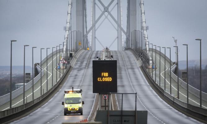 A deserted Forth Road Bridge.