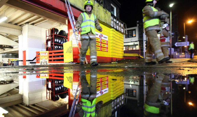 Firefighters at National Tyres in Broughty Ferry