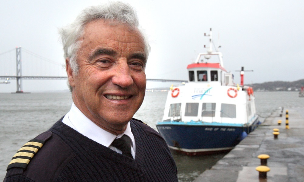Kris Miller, Courier, 09/12/15. Picture today at South Queensferry shows Colin Aston, owner of Maid of the Forth for story about Colin offering to operate a ferry service across the river while the Forth Road Bridge is closed.
