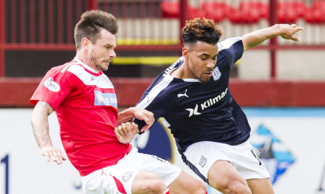 Experienced striker Dene Shields (left) fired Brechin ahead after 19 minutes.
