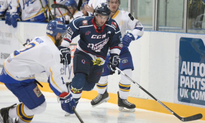 Stars scorer Bobby Chaumont leads a raid on Fife Flyers goal in last nights game at Dundee Ice Arena.