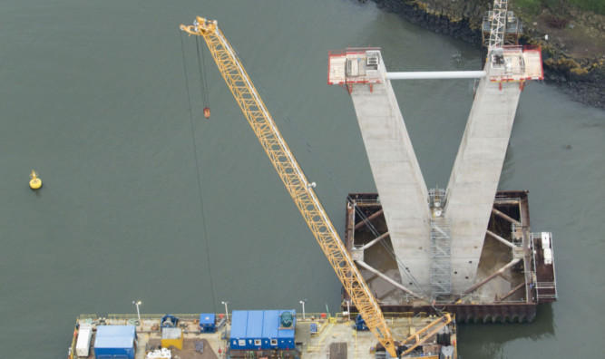 Work continues on the Queensferry Crossing.