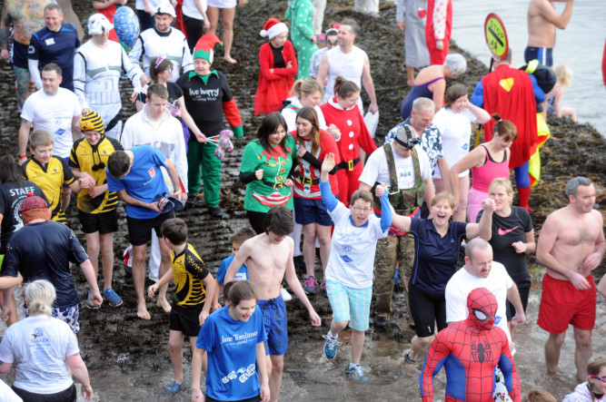 Over 100 hardy souls took part in 2016s New Years Day Dook at Broughty Ferry. The event is organised by the Ye Amphibious Ancient Bathing Association (YeAABA).
