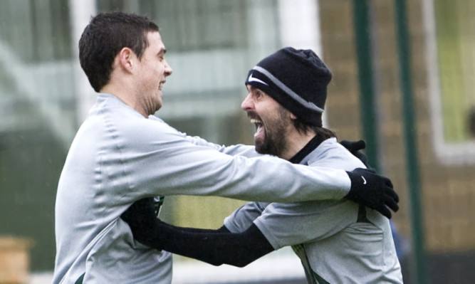 Happy team-mates. Darren O'Dea and Paul Hartley in their Celtic days.