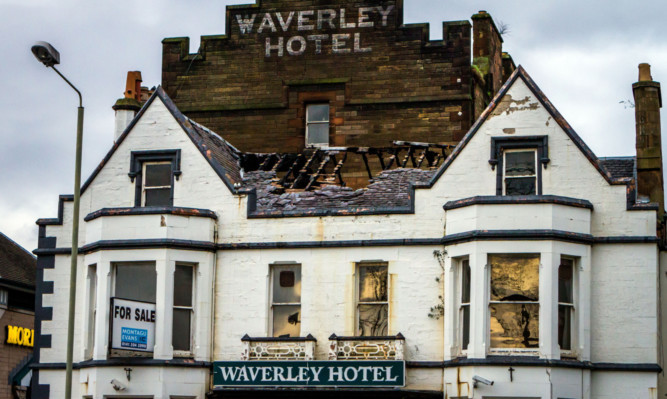 Recent fire damage to the former Waverley Hotel.