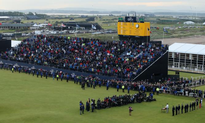 Large crowds listen to Zach Johnson's winner's speech at St Andrews last summer.