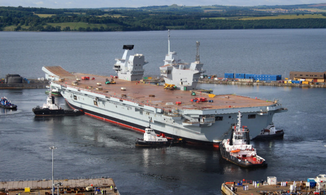The aircraft carrier HMS Queen Elizabeth under construction at Rosyth dockyard.