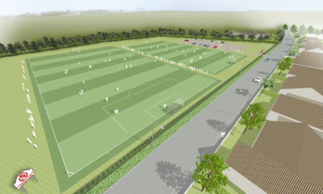 An artists impression of how the new training pitches for Carnoustie Panmure would look.