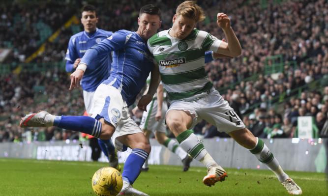 Michael O'Halloran (left) battles with Celtic's Stuart Armstrong.