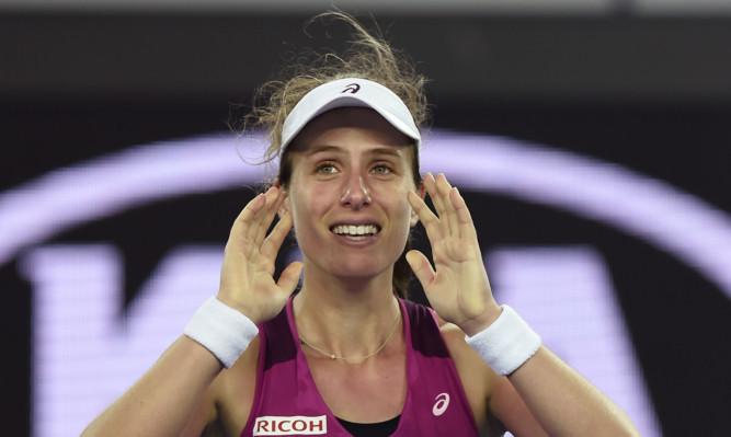 Johanna Konta celebrates after defeating Ekaterina Makarova in  their fourth round match at the Australian Open.