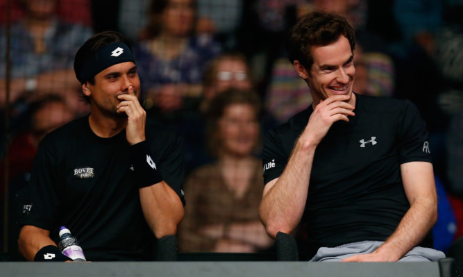 Andy Murray laughs with David Ferrer (left) during a Masters tennis event in London in 2015.