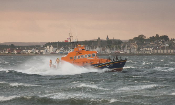 Broughty Ferry lifeboat out on a shout.
