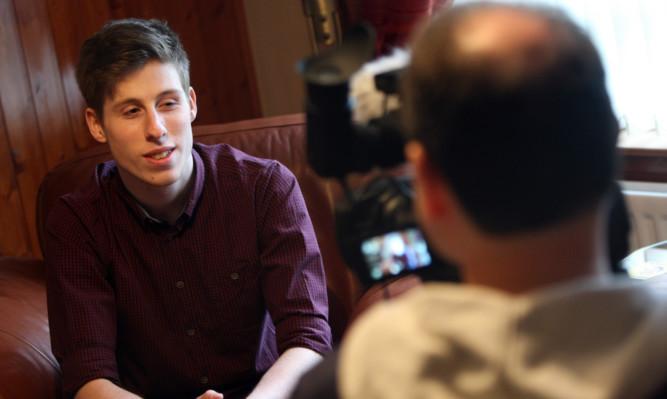Ben Lawrie being filmed for the documentary.