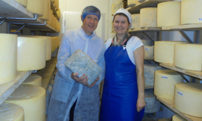 Willie Rennie MSP with Jane Stewart at the St Andrews Farmhouse Cheese Company.