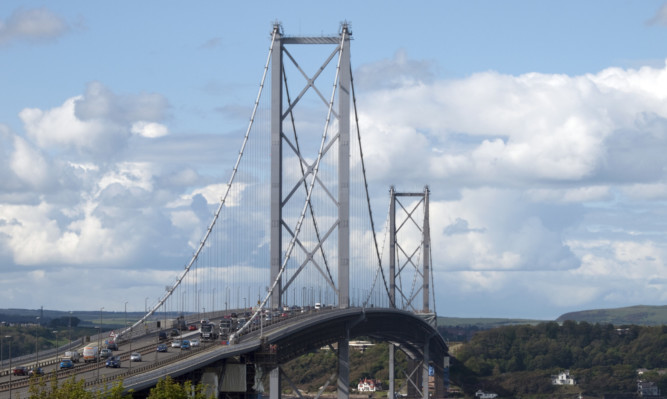 The Forth Road Bridge after Petrie climbed up on a suspension cable.