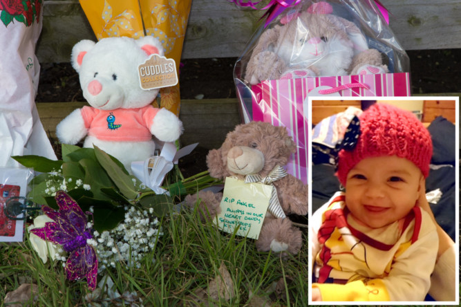 Poignant tributes outside baby Hayleys home.