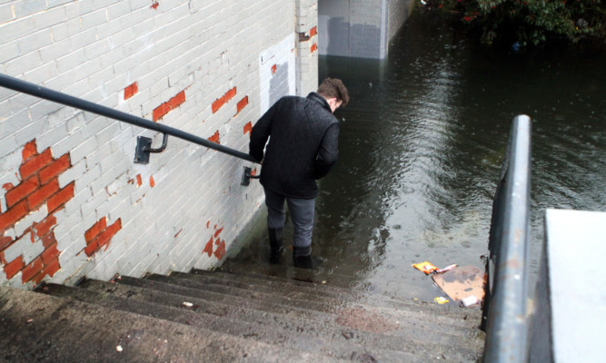 The flooded underpass at Forfar Road in Dundee which connects Caird Park and Morrisons.