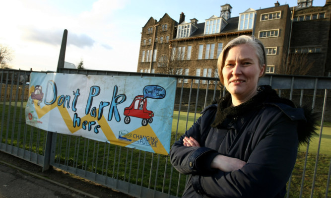 Nichola Fraser outside Clepington Primary School.