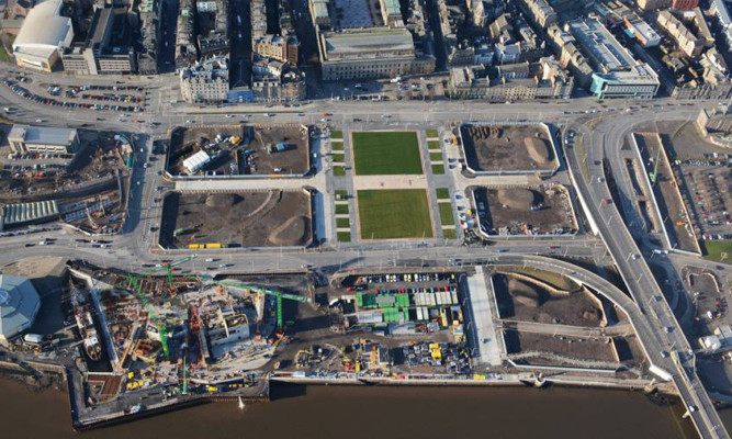 An aerial photo showing new streets, paths and gardens at the centre of the waterfront development.