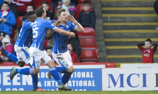 St Johnstone's Liam Craig celebrates his late penalty