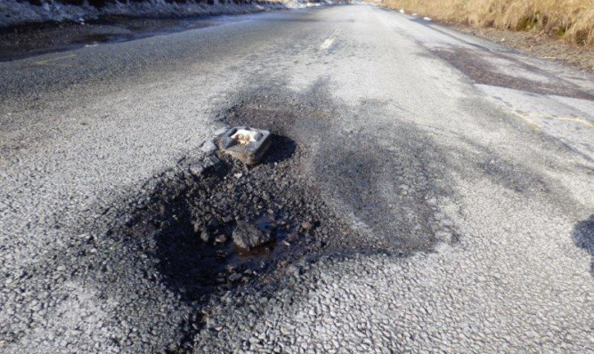 A pothole on a rural Perthshire route.
