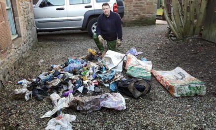 Ralph Coutts  after his recent clean up of the burn from St Vigeans to the Crocodiles Teeth in Arbroath.