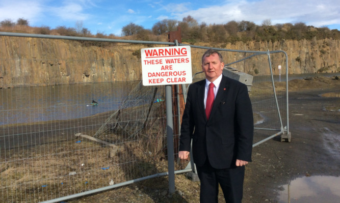 Fife MSP Alex Rowley at Prestonhill Quarry in Inverkeithing where he wants safety measures to be put in place.