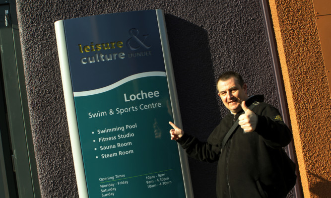 First customer of the newly opened Lochee Swim & Sports Centre John Ramsay gives a thumbs up after the revamp.