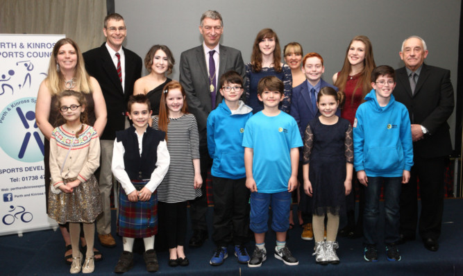 Cllr Mike Williamson with the nominees at the Dewars Centre.