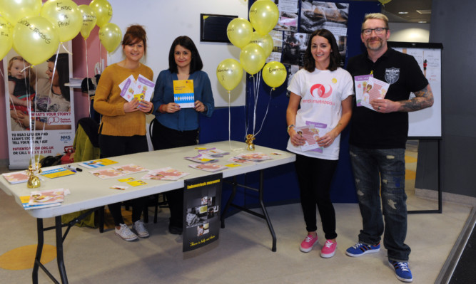 Ambassador for Endometriosis UK Claire Watson with   Hannah Raine, Marie Penman, and Scott Smith at Victoria Hospital.