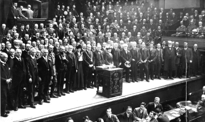 Winston Churchill at an election meeting in Kinnaird Hall, Dundee, in 1908