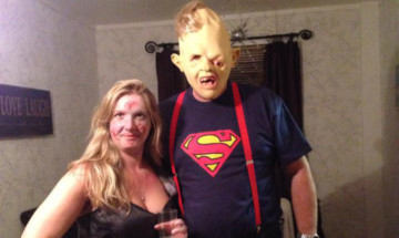 This fancy-dress picture of Lynette and Alec Downie was one which led to her deceit being identified.