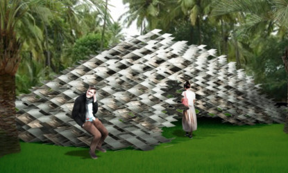 Kengo Kumas aluminium cloud pavilion can be used indoors or outdoors.