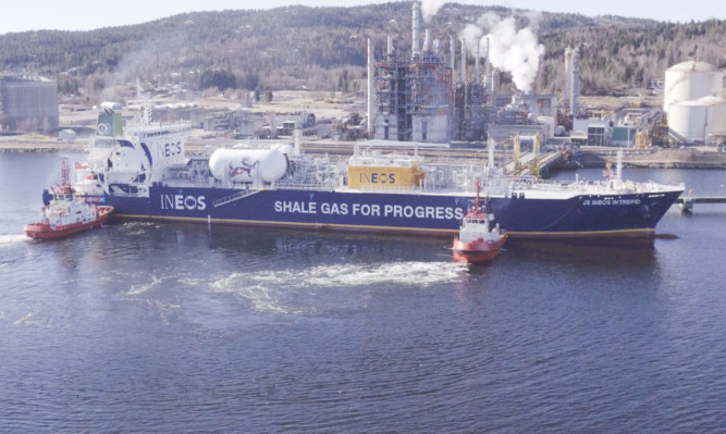 The Ineos Intrepid arrives in Norway carrying ethane from US shale gas.