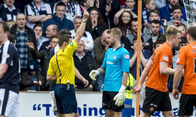 Dundee's Scott Bain is sent off.