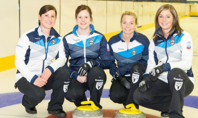 Eve Muirhead, right, with, from left, Sarah Reid, Victoria Adams and Anna Sloan.