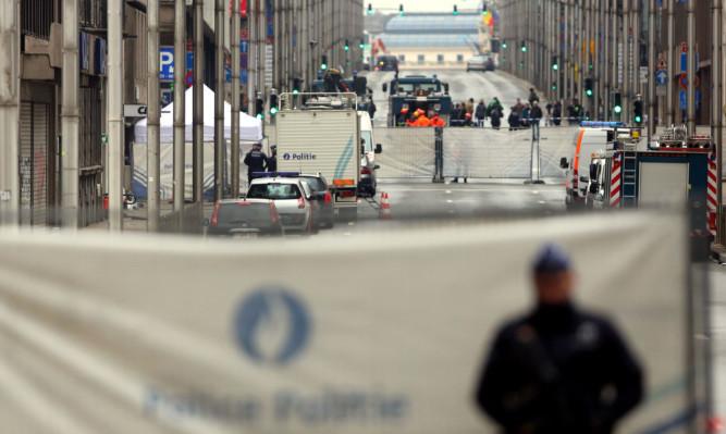 Emergency services outside Maelbeek Metro Station in Brussels.