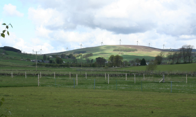 An artist's impression of the Saddle Hill windfarm.